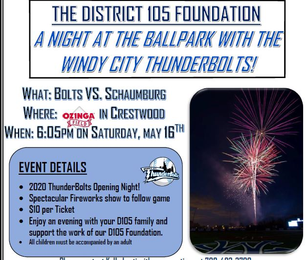 Save The Date-May 16. WIndy City Thunderbolts / D105 Foundation