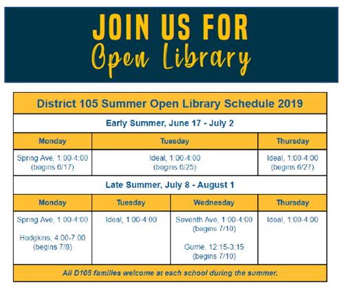 Open Library Schedule for District 105 Summer 2019