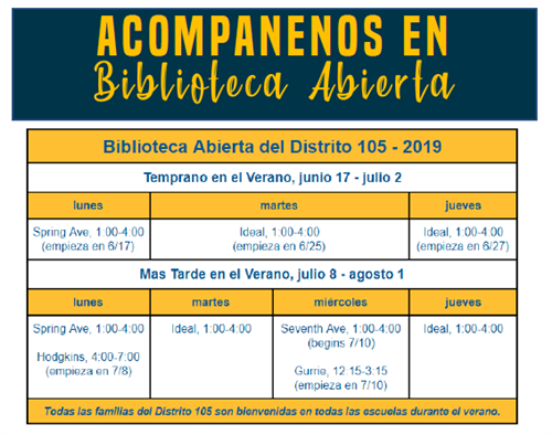 Open Library Schedule for District 105 Summer 2019 in Spanish